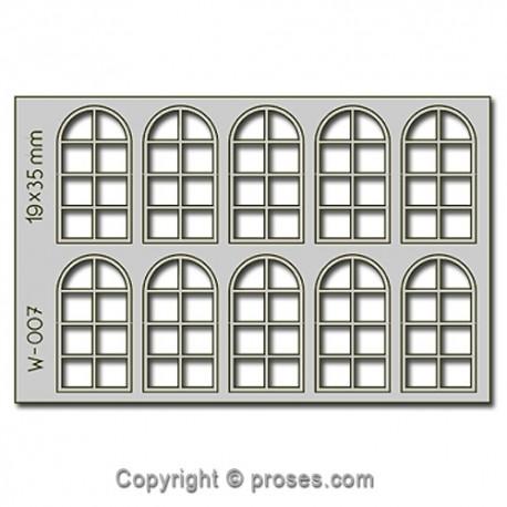 10 pcs 19X35mm 8 Pane Arched Windows HO/OO