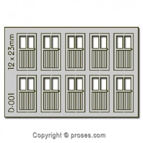10 pcs 12X23mm 2 Lite Doors HO/OO