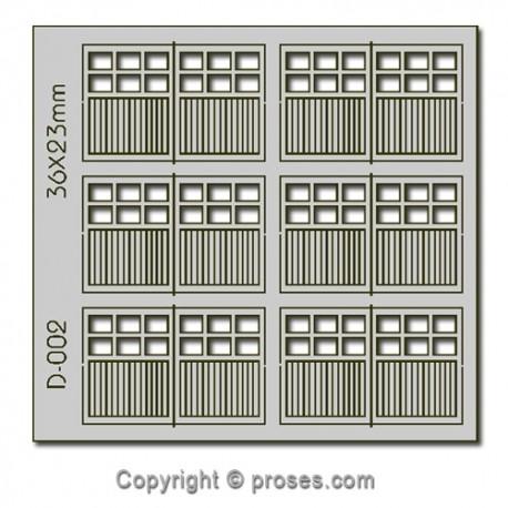 6 pcs 36X23mm 6 Lite Dbl Unit Garage Doors HO/OO