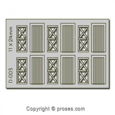 6 pcs 11X24mm Cottage Doors HO/OO