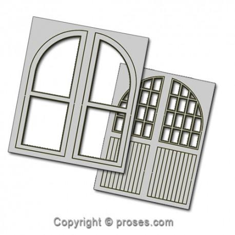 4 pcs 50X64mm Double Unit Loco Depot Doors HO/OO