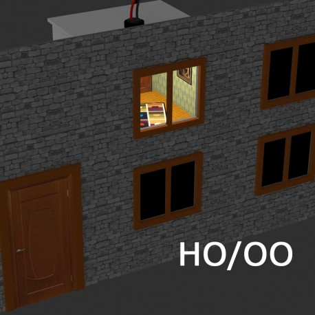 HO/OO Illuminated, Decorated Rooms for Buildings