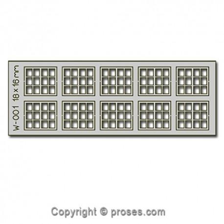 10 pcs 18X16mm 12 Pane Laser-Cut Windows HO/OO