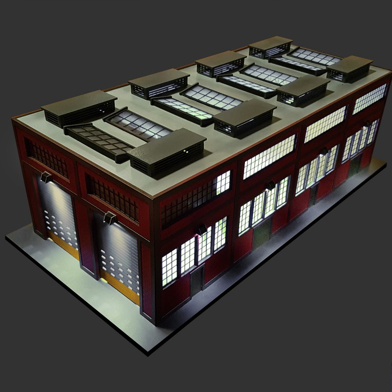 O Scale Modern Engine House W Motorized Working Doors And