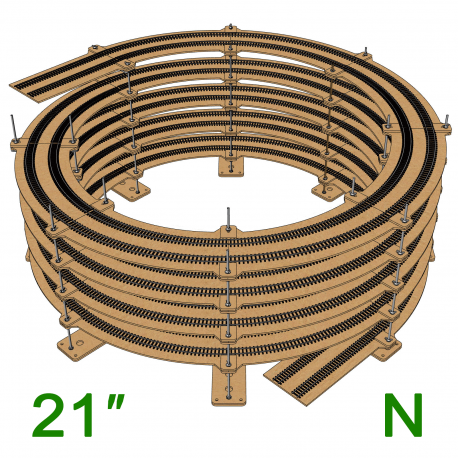 "21"" N Scale Single/Double Helix (R:19.5"" to R:22.5"")"